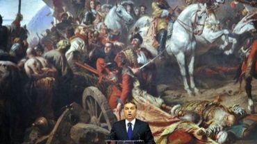 Le Premier ministre hongrois Viktor Orban inaugure une exposition d'art à Budapest, le 2 janvier 2012