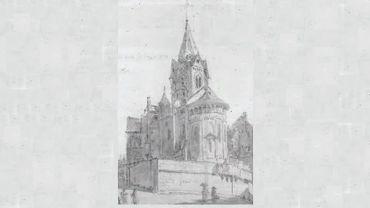 Croquis de la collégiale Sainte-Croix en 1834