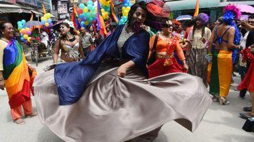 La marche des fiertés (gay pride) de Katmandou, au Népal, le 8 août 2017