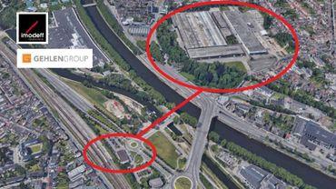 Vue aérienne des anciennes usines à Cuivre et à Zinc, et de la gare d'Angleur