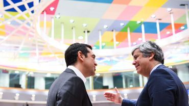 Prime Minister of Greece Alexis Tsipras and Eurogroup President Mario Centeno pictured during the second day of an EU summit meeting