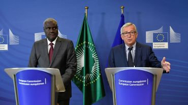 President of European Commission Jean Claude Juncker (R) and African Union Commission Chairperson Moussa Faki Mahamat (L) give a joint press conference after their meeting at the European Union headquarters in Brussels, on May 23, 2018.