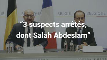 """""""Trois suspects ont été arrêtés, dont Salah Abdeslam"""", a-t-il encore confirmé."""