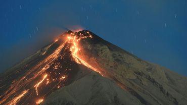 Le volcan Fuego en éruption, le 1er février 2018 à Alotenango, au Guatemala