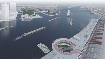 Syb van Breda & Co a imaginé une piste cyclable passant sous l'IJ à Amsterdam.