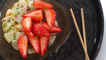 Tartare de daurade fraises, passion
