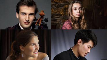 Les 4 candidats, la soprano Julie Gebhart, la mezzo Lea Desandre, le pianiste Xiaoyu Liu et le violoncelliste Christoph Croisé
