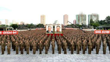Photo de l'agence officielle nord-coréenne KCNA montrant un rassemblement de soutien au régime à Pyongyang, le 10 août 2017