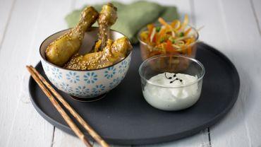 Recette : Verrines asiatiques aux pilons de poulet laqués au sésame