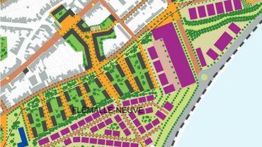 Le plan de flémalle Neuve, avec, en bas une nouvelle gare pour la ligne 125, et une passerelle pour franchir la Meuse