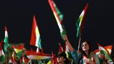 Manifestation à Arbil en faveur de l'autonomie accrue du Kurdistan irakien.