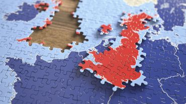United Kingdom and European Union jigsaw puzzle, illustratio