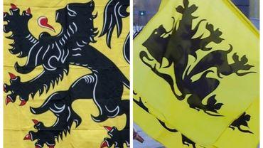A gauche, le drapeau flamand et, à droite, le flamingant.