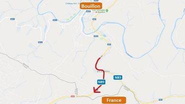 N89 – Bouillon : fermeture de la voirie vers la France