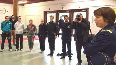 La commissaire générale de la police fédérale, Catherine De Bolle,  à l'école de police de Jurbise.