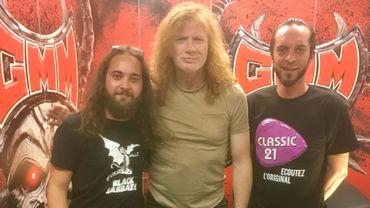 De gauche à droite, Cyril Wilfart, Dave Mustaine et Michael Leonard