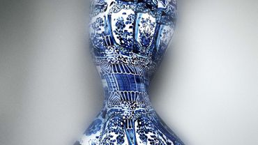"Une robe créée par Roberto Cavalli présentée à l'exposition ""China: Through the Looking Glass"" au Met, à New York"