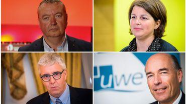 En haut à gauche : Robert Vertenueil (FGTB) - En haut à droit : Marie-Hélène Ska (CSC) En bas à Gauche : Pieter Timmermans (FEB) - En bas à droite : Olivier De Wasseige (UWE)