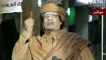 Image diffusée le 1er septembre 2011 sur la télévision Arrai du  colonel Mouammar Kadhafi