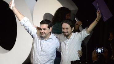Alexis Tsipras, le leader de Syrisa et Pablo Iglesias, le leader de Podemos