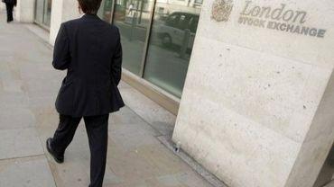 L'entrée de la Bourse de Londres, à la City
