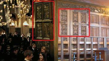 A gauche la porte de Poudlard, à droite les lambris de la Cour d'Assises de Liège