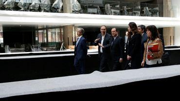 L'ancien président François Hollande lors de l'inauguration de Station F la grande pépinière de start-up qui doit ouvrir cet été à Paris, le 11 mai 2017