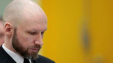 Le tueur en série néo-nazi norvégien Anders Behring Breivik lors d'un procès en appel à Skien, en Norvège, le 10 janvier 2017