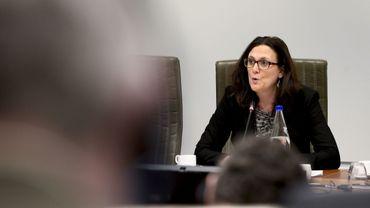Cécilia Malmström, commissaire européenne au Commerce, photographiée au parlement flamand le 12 janvier dernier.