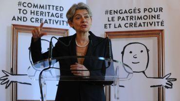 Irina Bokova, directrice générale de l'Unesco, lors d'une conférence de presse à Paris, le 23 juin 2015