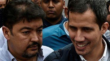 Juan Guaido (d) et son chef de cabinet Roberto Marrero, le 8 mars 2019 à Caracas
