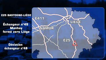 E25: Fermetures des bretelles de l'échangeur de Manhay vers Liège