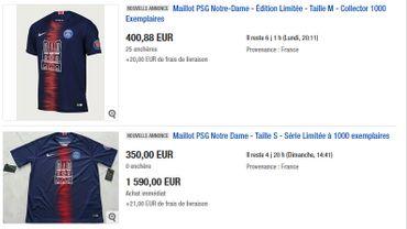 """Incendie de Notre-Dame: des maillots """"édition limitée"""" du PSG vendus pour les pompiers, déjà revendus sur eBay"""
