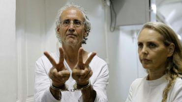 Le juriste francais Frank Romano, arrête par Israël après une manifestation contre la destruction d'un village bédouin en Cisjordanie occupée arrive à un tribunal de Jérusalem le 16 septembre 2018