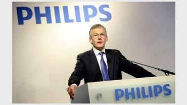 Le directeur exécutif de Philips, Frans van Houten, lors d'une conférence de presse à Amsterdam, le 30 janvier 2012
