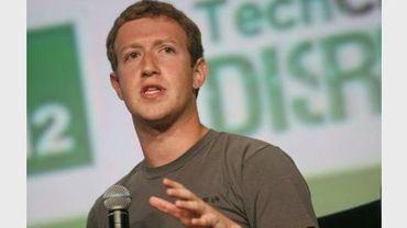 Le patron de Facebook, Mark Zuckerberg, lors de la conférence technologique TechCrunch Disrupt à San Francisco, le 11 septembre 2012