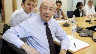 Jean-François Pilliard, négociateur du Medef (c) lors d'une réunion avec les syndicats le 9 septembre 2014 à Paris