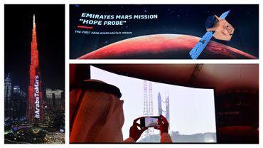 Dubai au couleurs de la mission, le 9/02/2021 - et images du décollage de la sonde, en juillet dernier