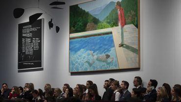 """""""Portrait of an Artist (Pool with two figures)"""" de David Hockney a été adjugée 80 millions de dollars au bout d'un peu plus de neuf minutes, prix porté à 90,3 millions en ajoutant frais et commissions."""