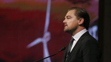 L'acteur Leonardo Di Caprio lors de son discours à la COP21 de Paris
