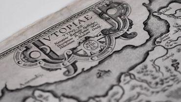 Un gros plan sur la carte Utopia d'Abraham Ortelius