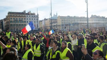Yellow Vests (Gilets jaunes) protesters demonstrate against rising oil prices and living costs in Marseille on December 1, 2018