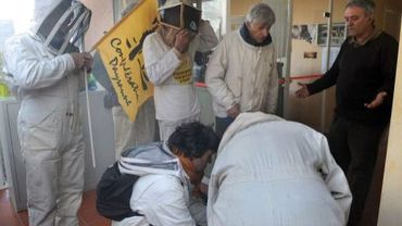 Un membre du site de la multinationale agro-alimentaire Monsanto (D) réagit après que des apiculteurs, membres de la Confédération paysanne et de l'Union nationale des apiculteurs de France (UNAF), ont pénétré avec des ruches à l'intérieur du site à Monbéqui (Tarn-et Garonne) avant de l'occuper, le 6 janvier 2012.