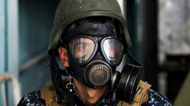 Un membre des forces spéciales irakiennes dans la vieille ville de Mossoul le 16 avril 2017