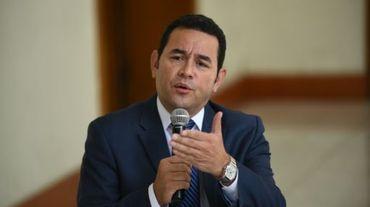 Jimmy Morales, nouveau président du Guatemala, lors d'une conférence de presse, le 2 novembre 2015 à Guatemala City
