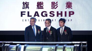 Kevin Tsujihara, Li Ruigang et Mark lee, les dirigeants respectifs de Warner Bros., de China Media Capital et de Television Broadcasts Limited (TVB)