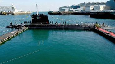 Un sous-marin Scorpion commandé par la Malaisie, à Cherbourg (Normandie), le 23 octobre 2007