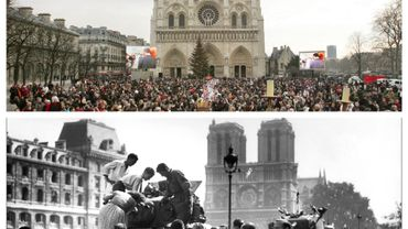 La cathédrale Notre-Dame lors des obsèques de l'Abbé Pierre, en 2007 et à la Libération de Paris, en août 1944