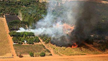 Photo diffusée le 29 juillet 2020 par les pompiers de l'Etat du Mato Grosso montrant un incendie de forêt dans la région du Pantanal, au Brésil
