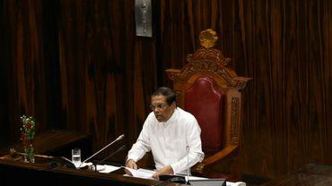 Le président du Sri Lanka Maithripala Sirisena devant le Parlement à Colombo le 8 mai 2018
